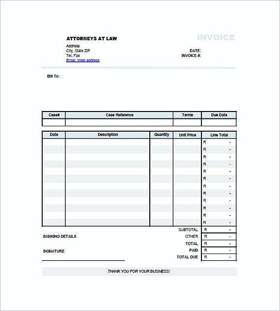 Invoice For Legal Services Templates Attorney Invoice Template
