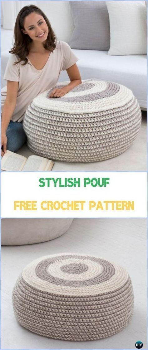 Crochet Stylish Pouf Free Pattern - Crochet Poufs ...