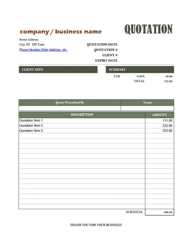 53 Quotation Templates Pdf Doc Excel Quote Template