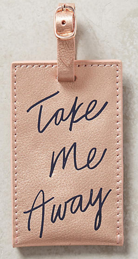 take me far away' luggage tag