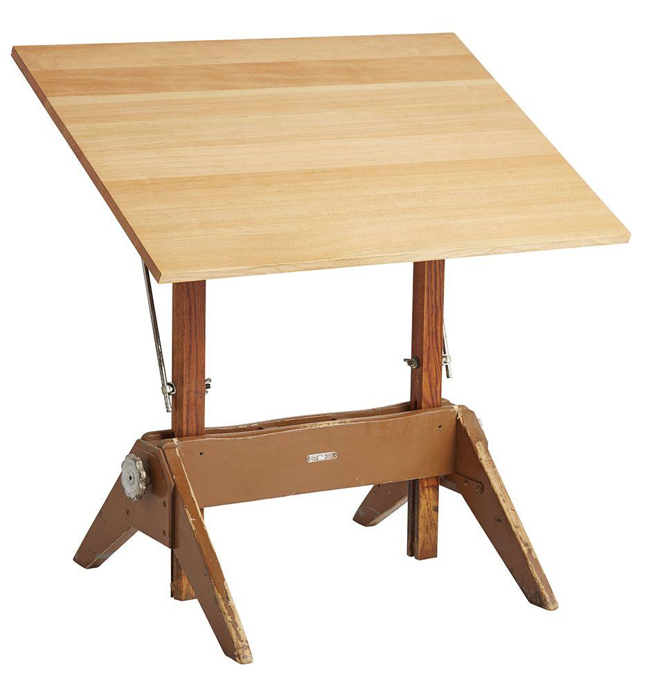 Modern Drafting Table w/ Oak Trestle Base by Mayline Circa ...