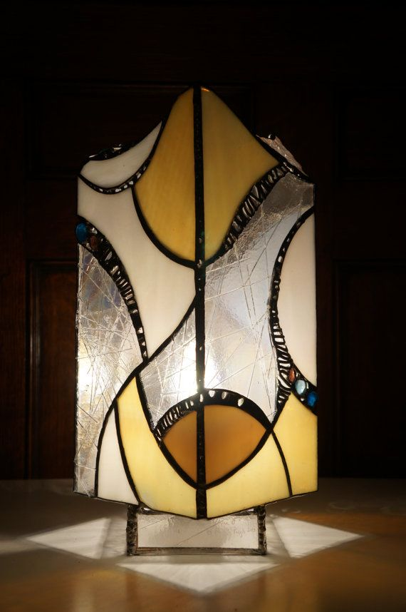Tall modern stained glass table lamp by ArsLumina on Etsy ...