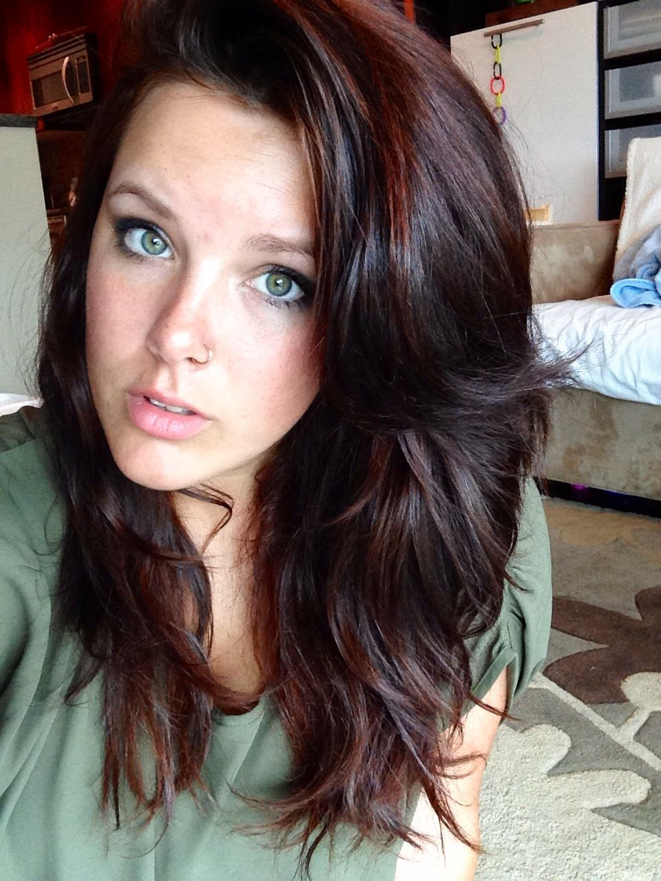 chocolate brown auburn highlights hairstyles