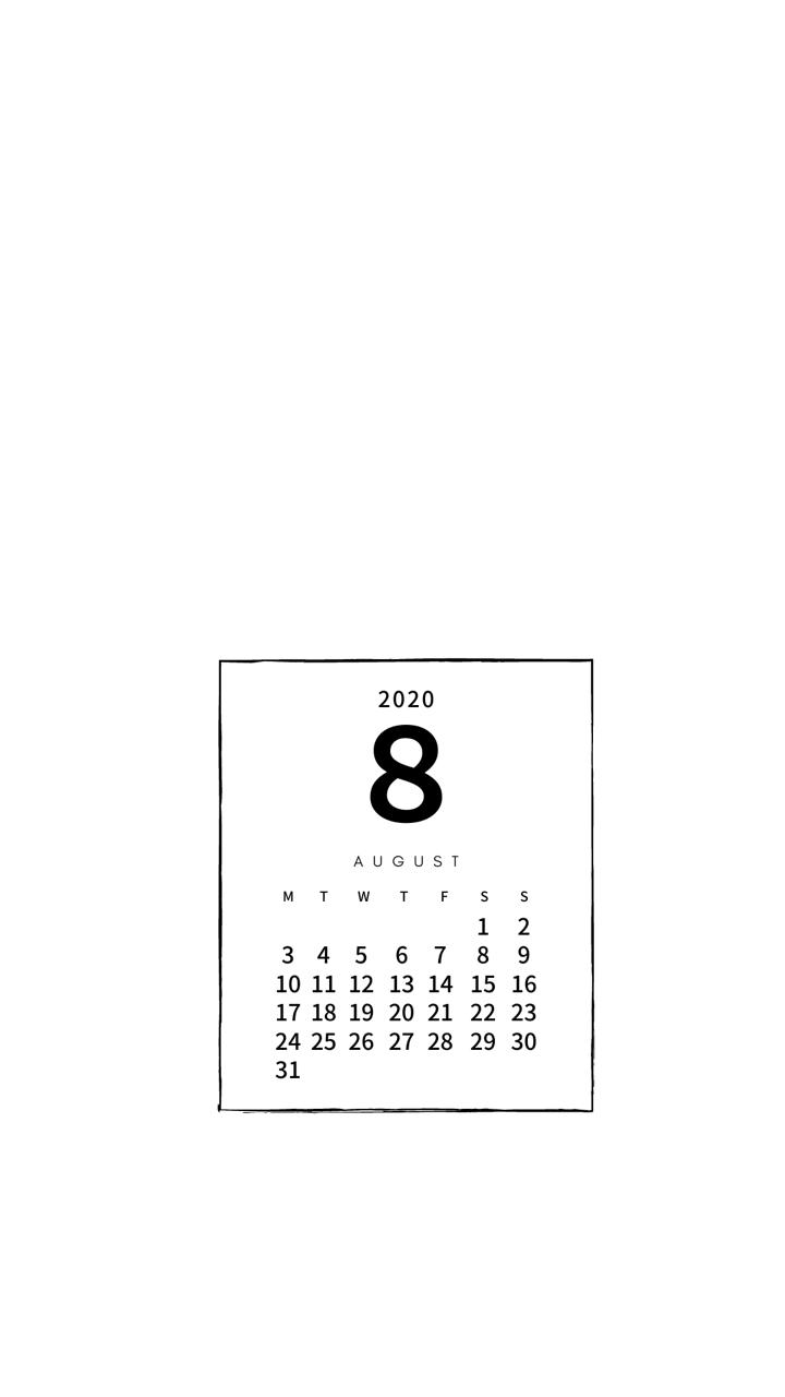8月のカレンダーシンプル白 Simple White Pandalabo 日付シート配信 Note カレンダー かわいい 壁紙 カレンダー カレンダー