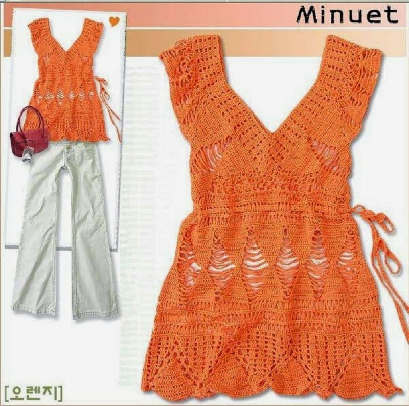 crochelinhasagulhas: Arancio Crochet Tunica