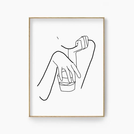 Whiskey glass and woman wall art modern line art alcohol poster home bar interior wall decor woman cave scotch print kitchen drawing nordic