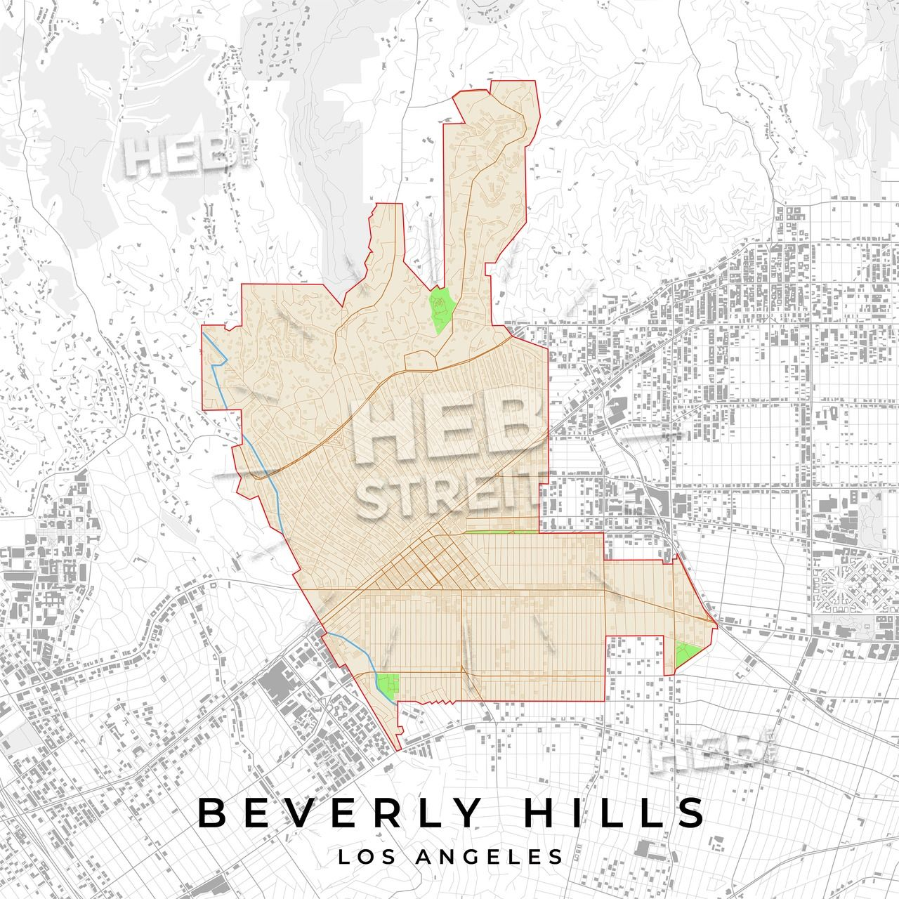 Vector Map Of Beverly Hills Los Angeles Usa Hebstreits Sketches Map Vector Los Angeles Beverly Hills Map