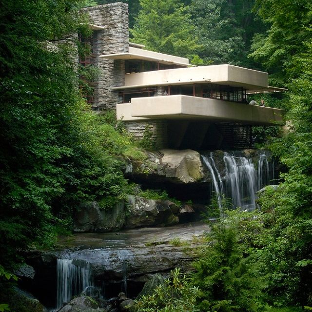 FRANK LOYD WRIGHT  The famous Fallingwater or Kaufmann residence, architecture by Franks Lloyd Wright. It is amazing this was designed in 1935.