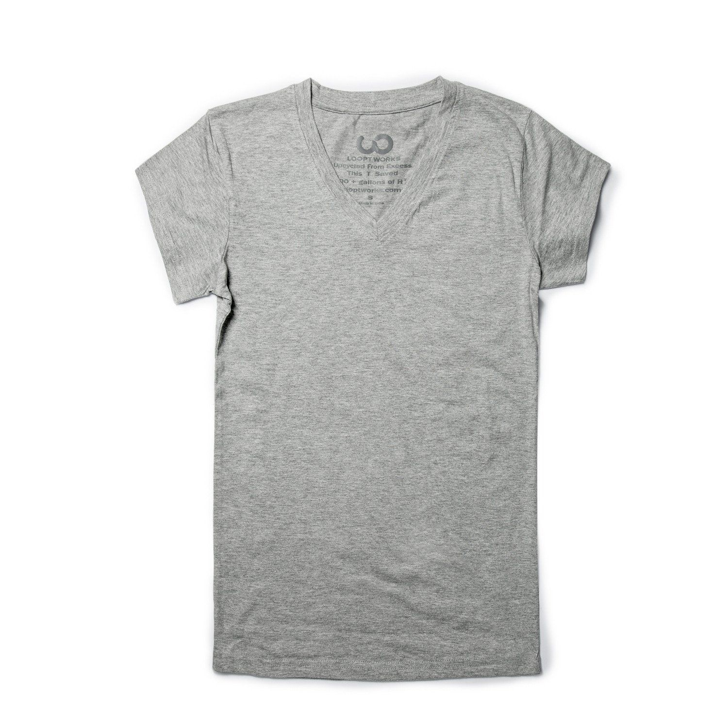 6b75589d6 Upcycled from repurposed premium poly-cotton blends rescued from the  Apparel Industry, our upcycled gray tee saves over 400 gallons of water  over a t-shirt ...