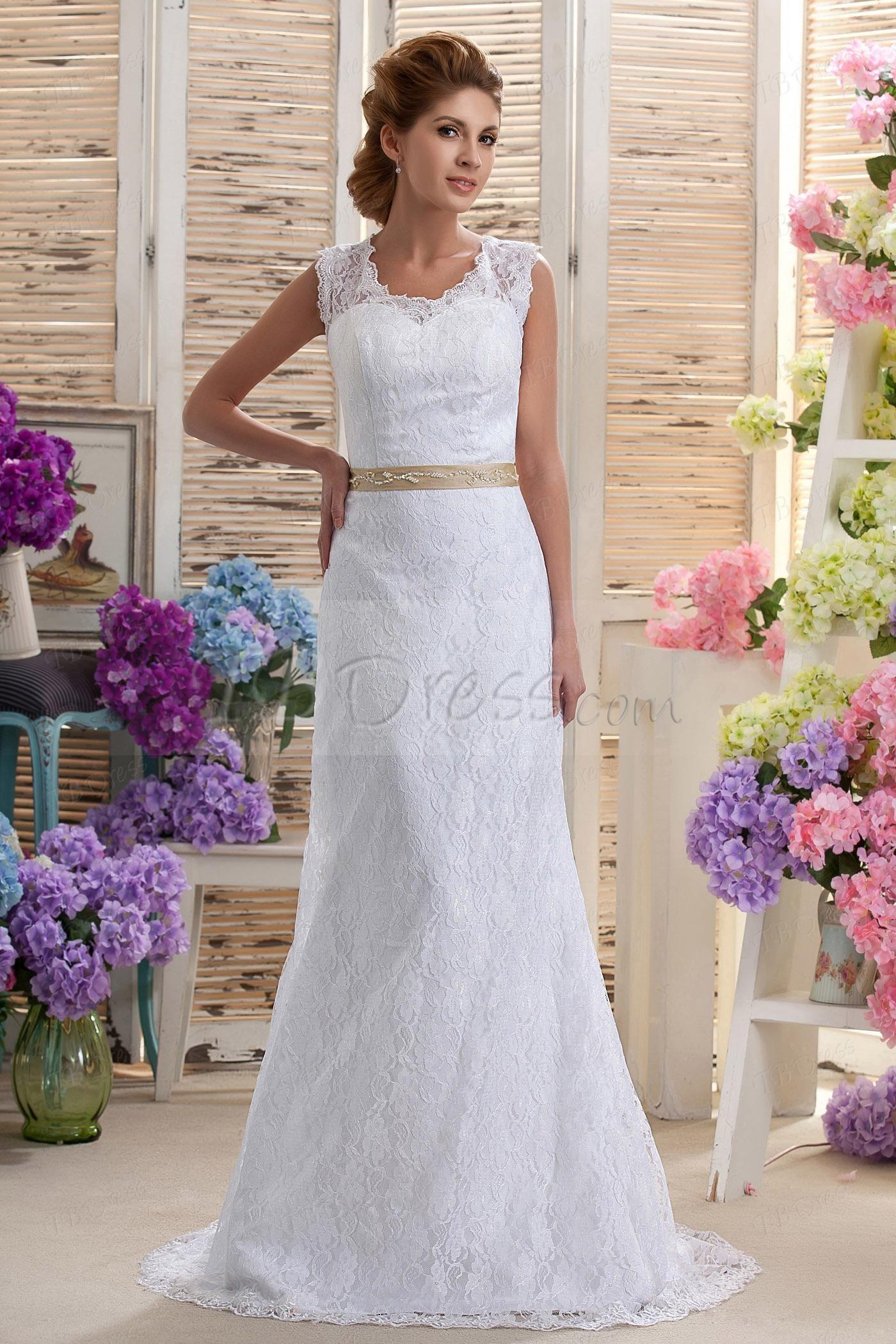 Charming Column VNeck Chapel Train Nastya's Wedding Dress