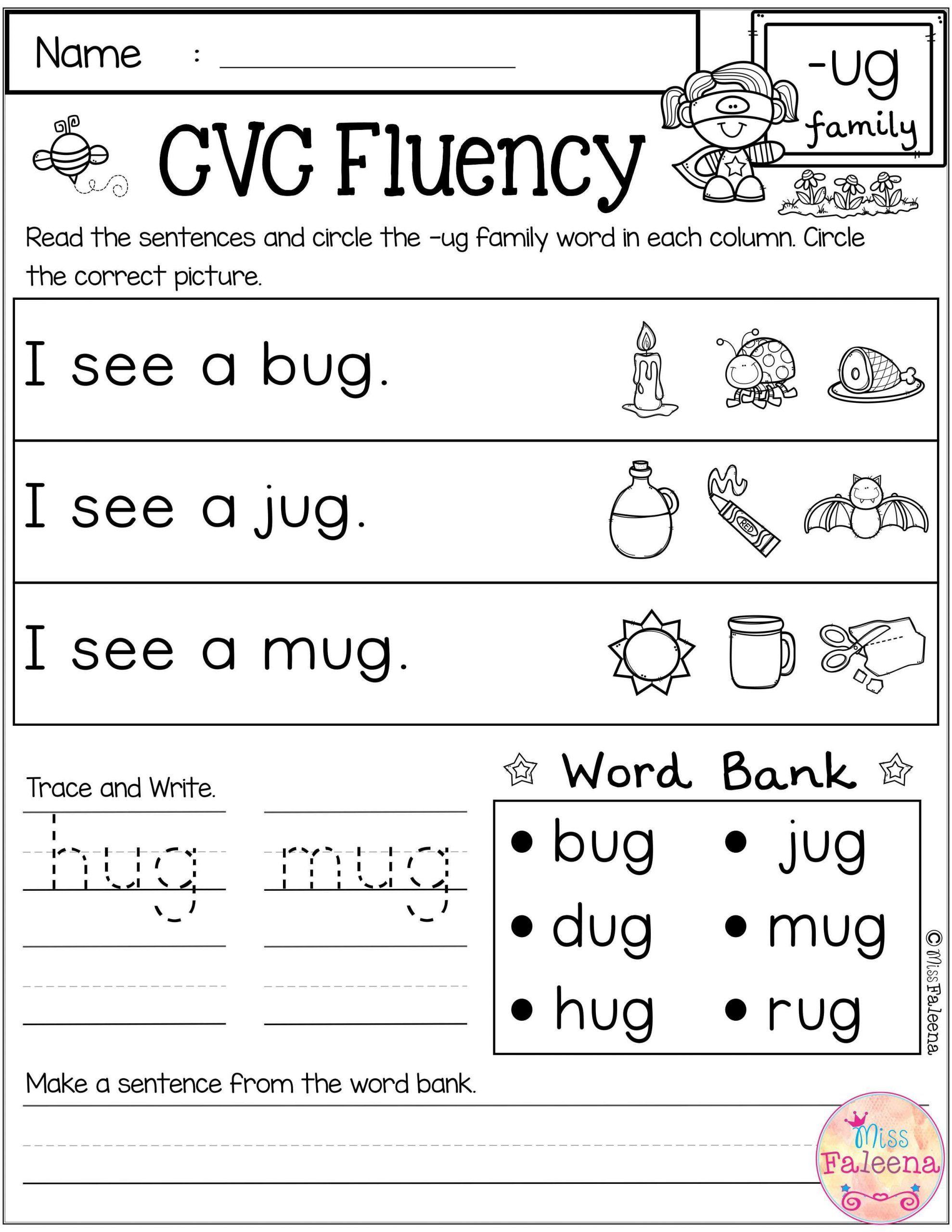 Cvc Words For Kindergarten Worksheets In