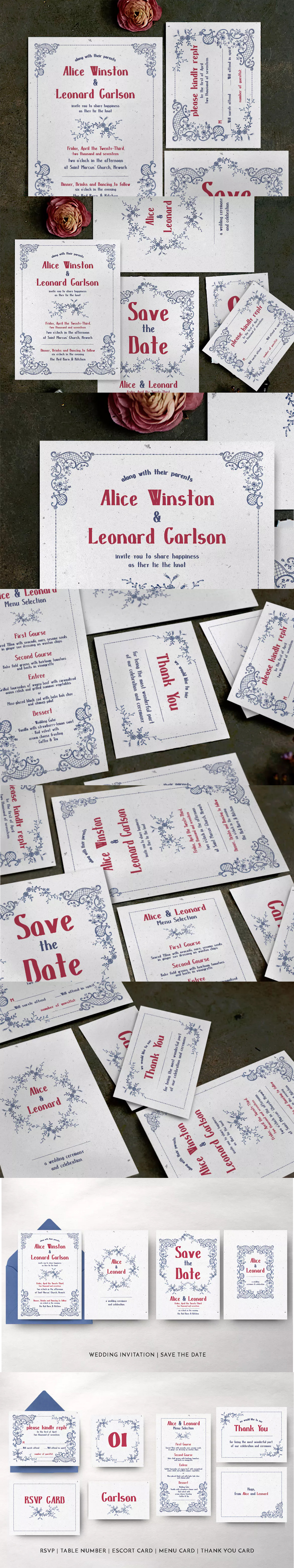 Embroidery Wedding Invitation Template PSD | Wedding Invitation Card ...
