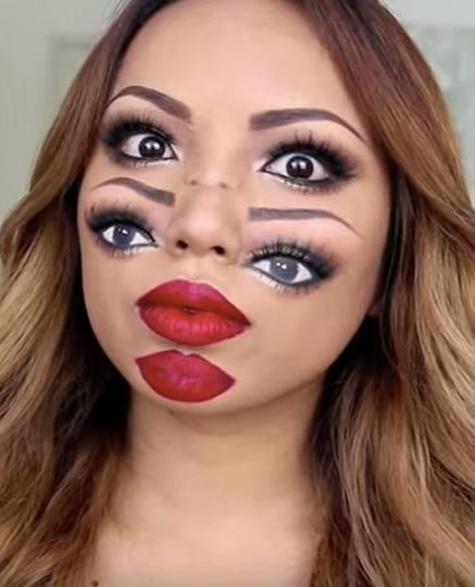 Double Vision Halloween Makeup Will Melt Your Friends Brains - Halloween-face-makeup