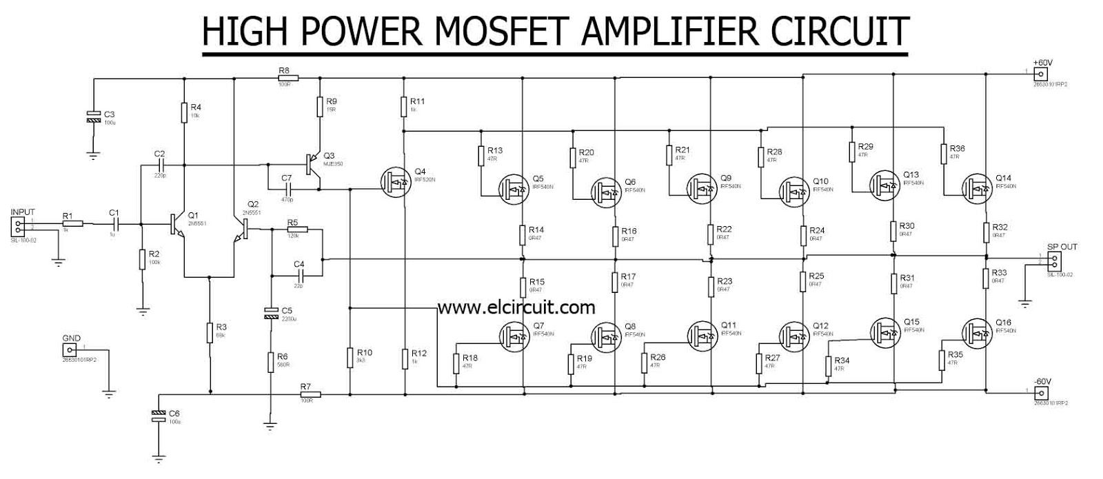 High Power Mosfet Amplifier Irf540n Amp Circuit Diagram Easy Hifi Ocl 150w Rms By Transistor Electronic Projects