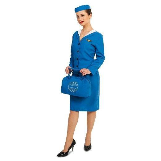 Women\u0027s Retro Glam Airline Stewardess Costume Costumes - mens homemade halloween costume ideas