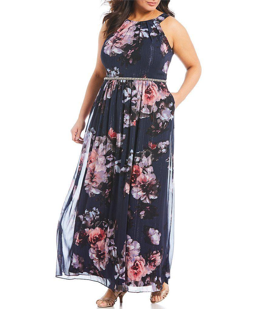 Ignite Evenings Plus Size Floral Print Halter Maxi Dress ...