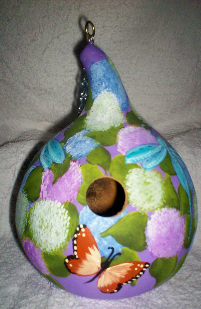 Hydrangea, Dragonflies, Butterflies Painted Gourd birdhouse Garden Yard Art  Check Ebay for daily updates on new Gourd Birdhouses!