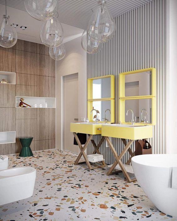 Duo en jaune pour une salle de bain d 39 enfant in 2019 salle de bain bathroom salle de bain - Salle de bain pour enfant ...