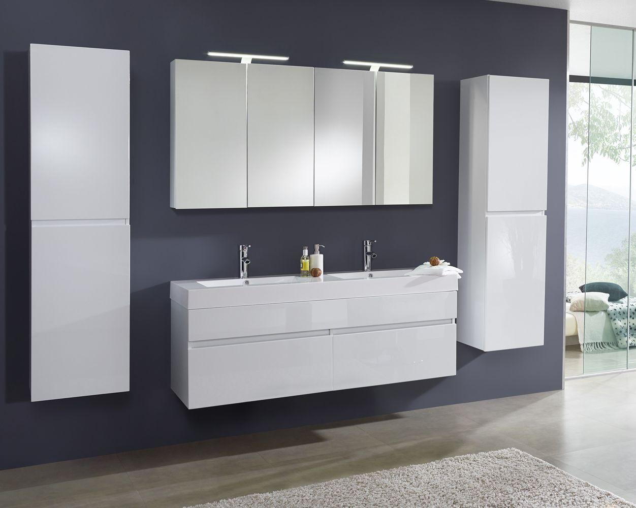 Badezimmer ideen halb geflieste wände badmöbelset prometheus deluxe  hochglanz weiß tlg