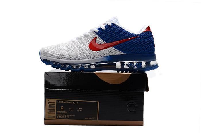 We Are Your Right Choice to get Official Nike Air Max 2017 Top Running Shoes  Mens Blue White Red Sale Hot