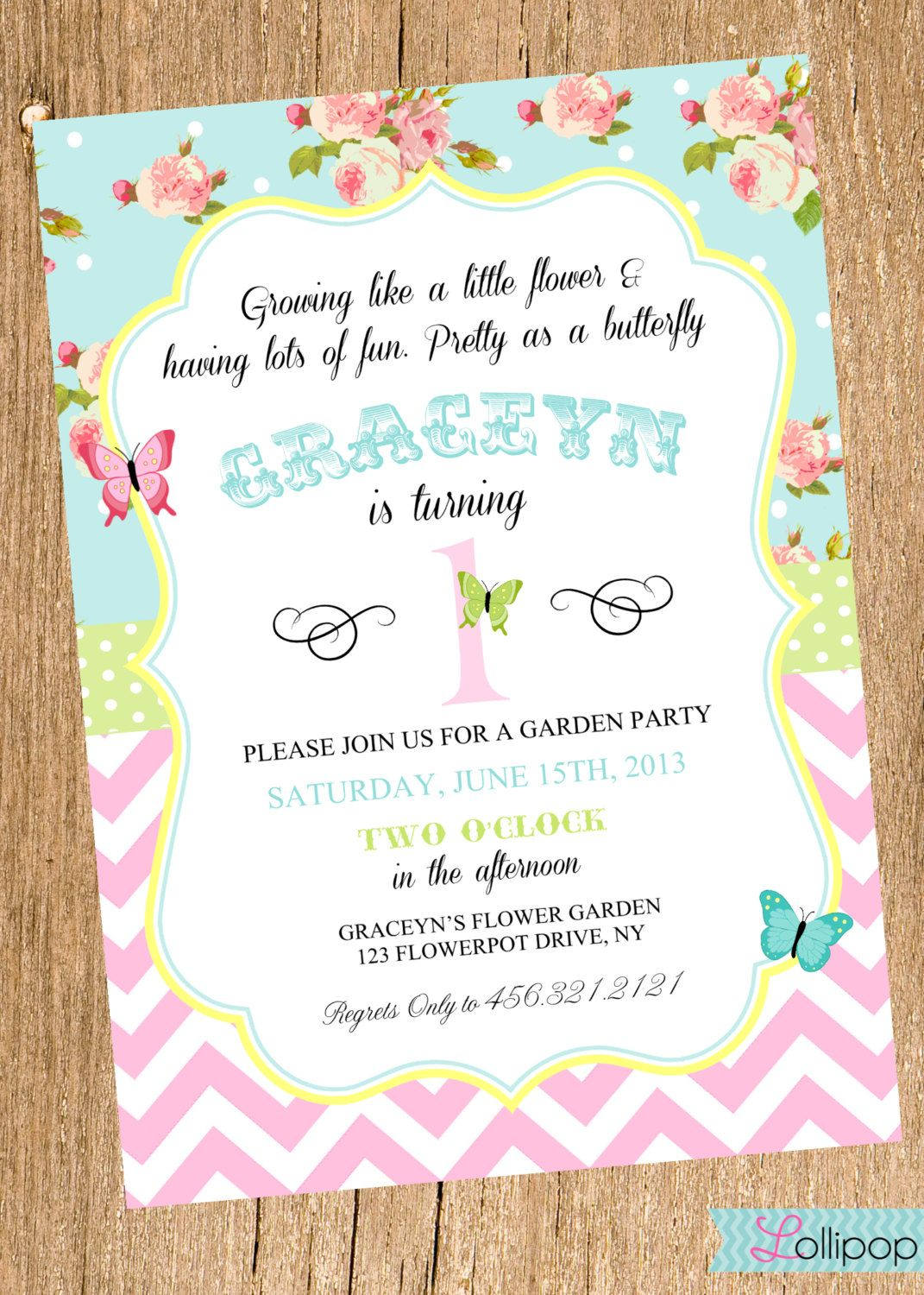 Vintage GARDEN Party Printable Birthday Invitation by LollipopInk