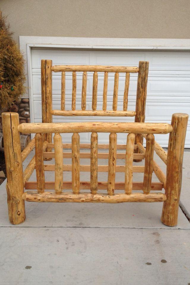 Log bed pine | Bed frame plans, Log bed frame, Log furniture