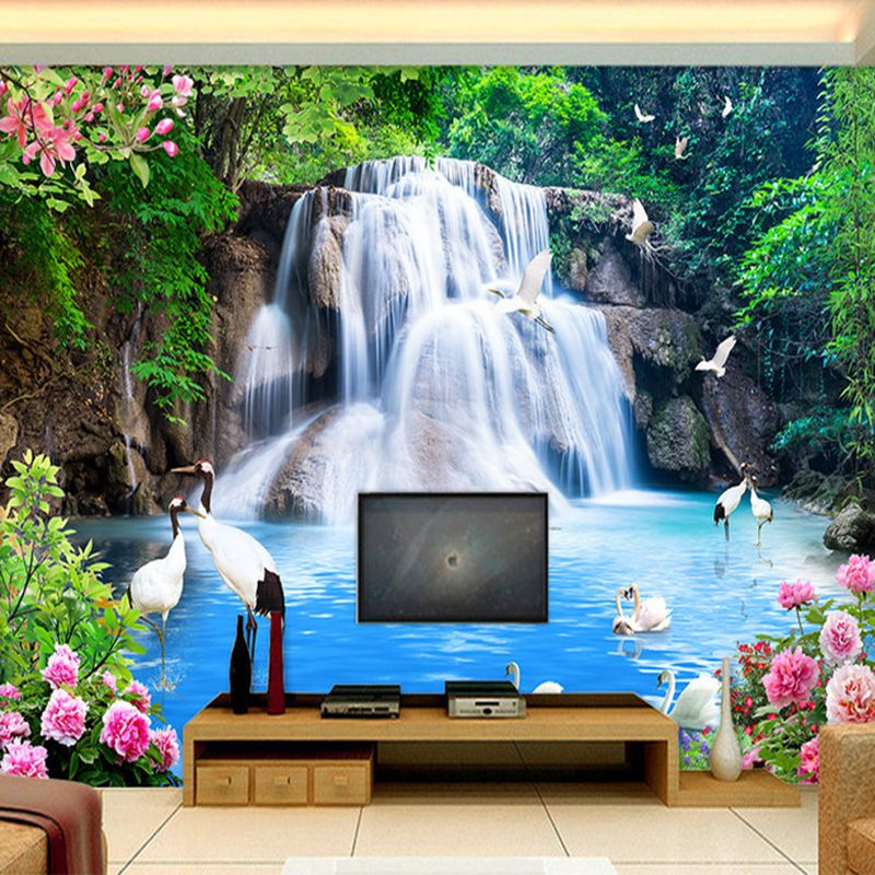 Custom 3d Wall Mural Wallpaper Mountain Water Waterfall Scenery 3d Tv Background Wall Decorations Living Room Photo Wallpaper