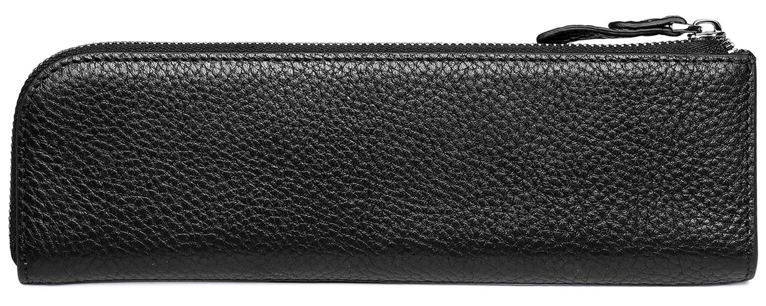 Meku Pencil Case Genuine Leather Pen Case Stationery Bag Zipper Pouch Pencil Holder With 2 Slots Black Ad Genuine Sponsor Pen Case Genuine Leather Leather
