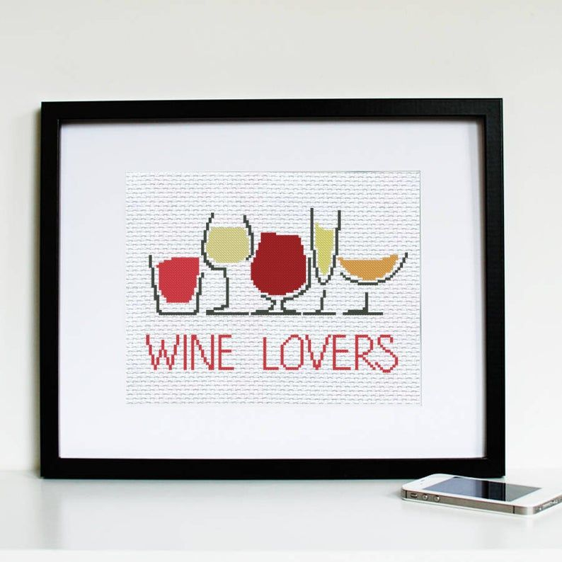 Easy cross stitch wine glasses counted cross stitch pattern funny wine lovers easy hand embroidery kitchen pdf chart cute needlepoint design