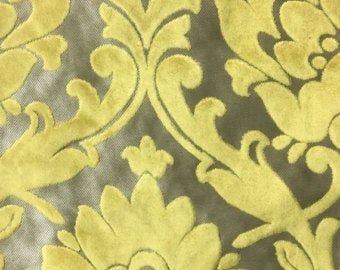 Upholstery Fabric - Radcliffe - Vanilla - Lurex Burnout Velvet Damask Upholstery, Drapery & Pillow Fabric by the Yard-Available in 23 Colors