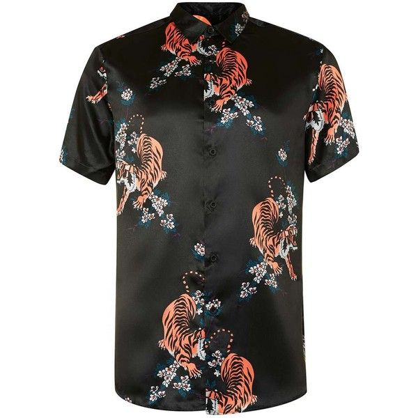 TOPMAN Black Tiger Print Short Sleeve Casual Shirt ( 42) ❤ liked on  Polyvore featuring men s fashion 9f6bc8e66