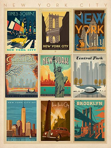 Love These Vintage Style Posters From Anderson Design Group Would Be Neat To Have One From Everywhe New York Poster Vintage Poster Design Retro Travel Poster