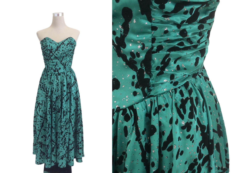 Vintage Gina Bacconi Prom Dress - Silver Glitter / Black Flocked ...