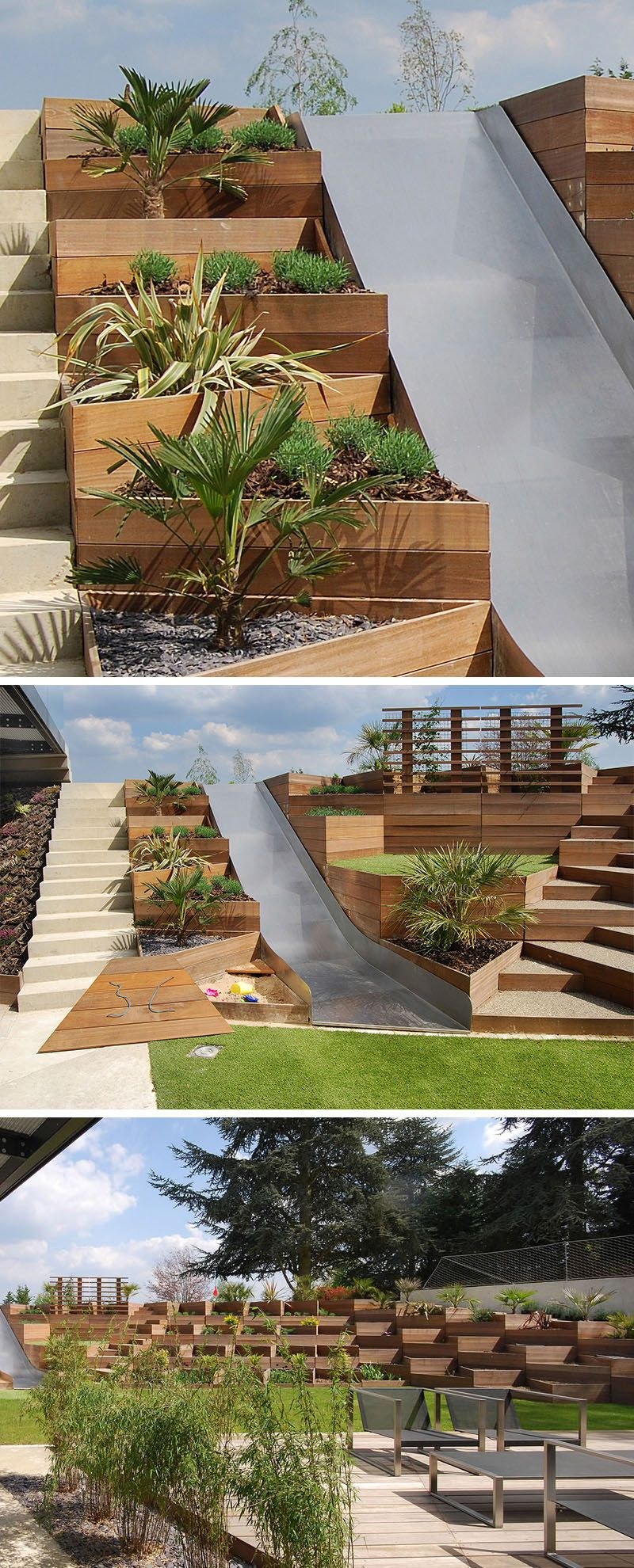 Triangular Raised Flower Bed On Large Garden Lawn Stock: This Backyard With A Slide, Makes Use Of Triangular Wooden