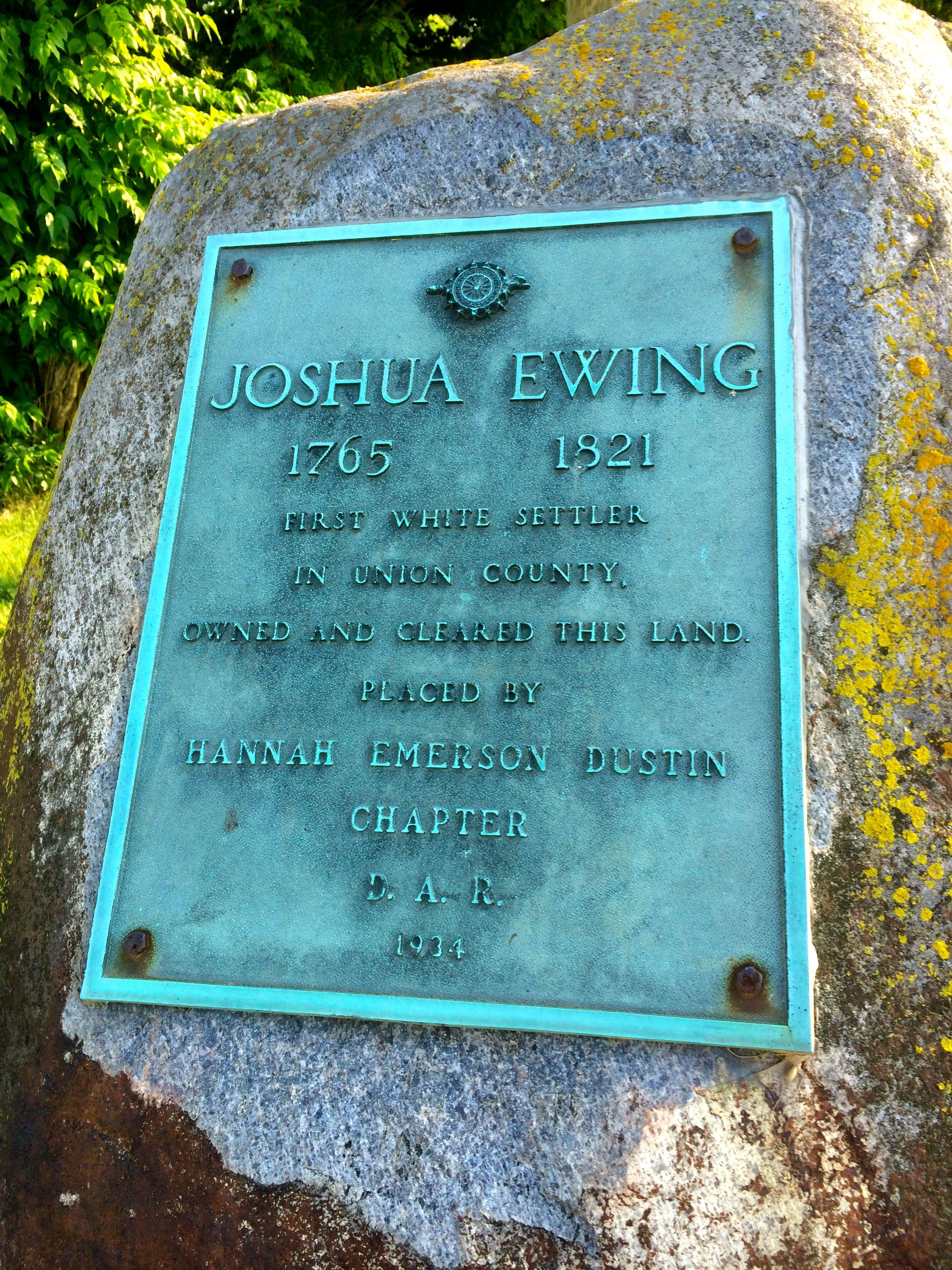 Monument (on Route 42) for Joshua Ewing, an early settler
