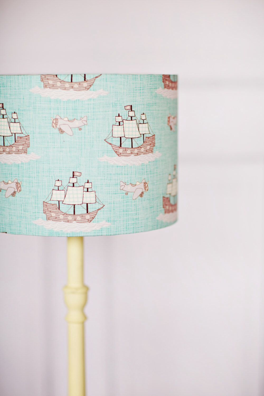 Blue Lampshade, Nautical Nursery, Nautical Décor, Nursery Lamp Shade, Kids  Lamp,