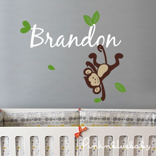 Nursery wall decals boy monkey custom name decal kids wall sticker