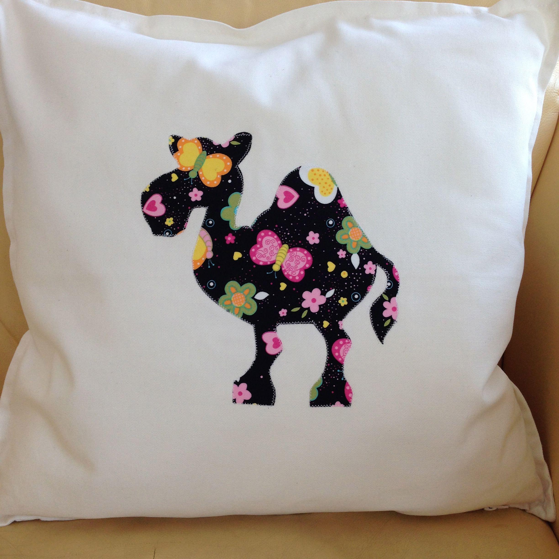 White cushion with appliqué camel cm x cm hectorshandmade