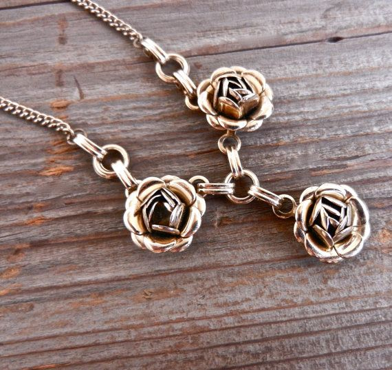 Vintage Rose Y Necklace - Gold Tone 1960s Flower Choker by MaejeanVINTAGE on Etsy, $14.00    #necklace #rose #1960s
