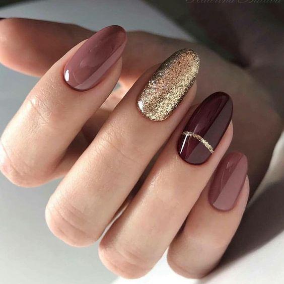 Almond Nails For Winter Stiletto Nail Art Designs Winter Nails Fall Nails Holiday Nails Easy Nails Classy Na Oval Nails Designs Oval Nails Gorgeous Nails