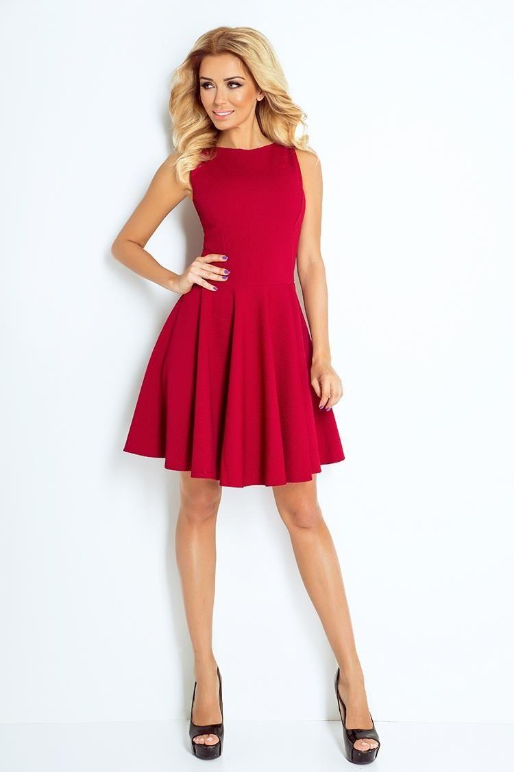 Sukienka Klasyczna Rozkloszowana Bordo Nu125 1 Dresses Maroon Dress Limited Edition Dress