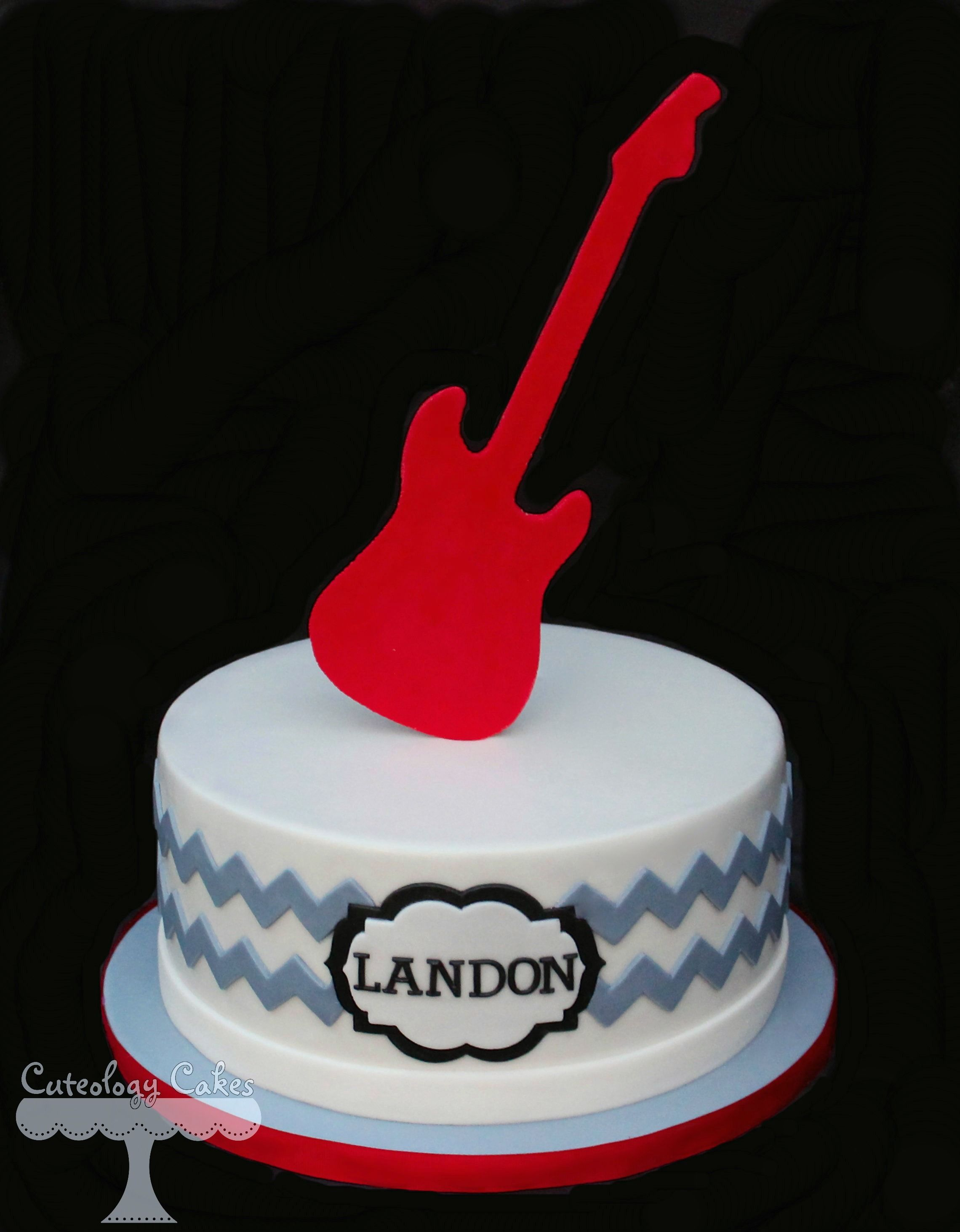Chevron Rock Star Cake with electric guitar topper wwwfacebook
