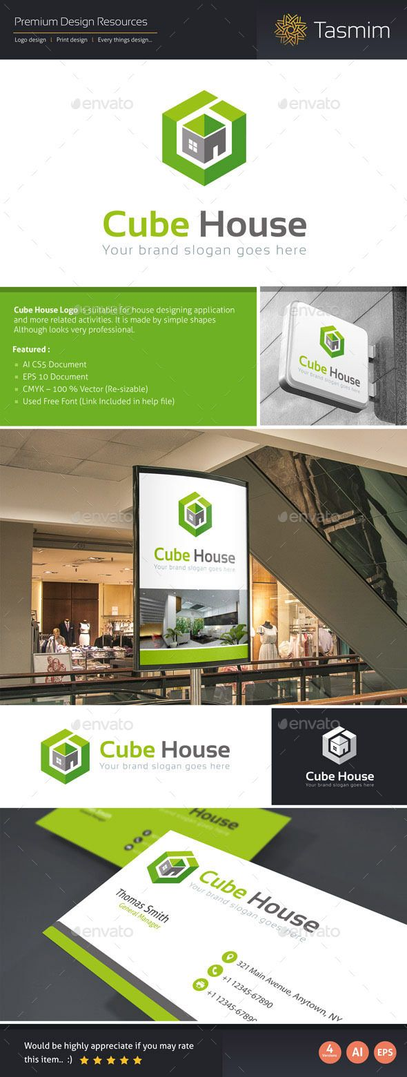 Cube House Logo Template  House Logos Logo Templates And Logos