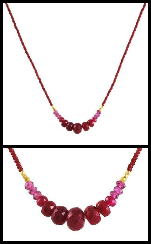 Debbie Fisher Seed Ruby necklace with Graduated ruby and garnet rondelles on a strand of red seed beads.