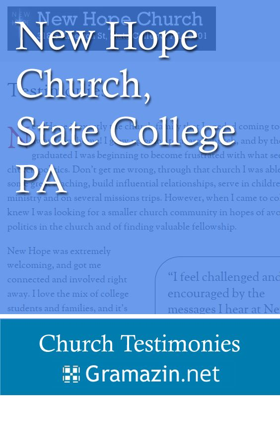 New Hope Church of State College PA has published testimonies