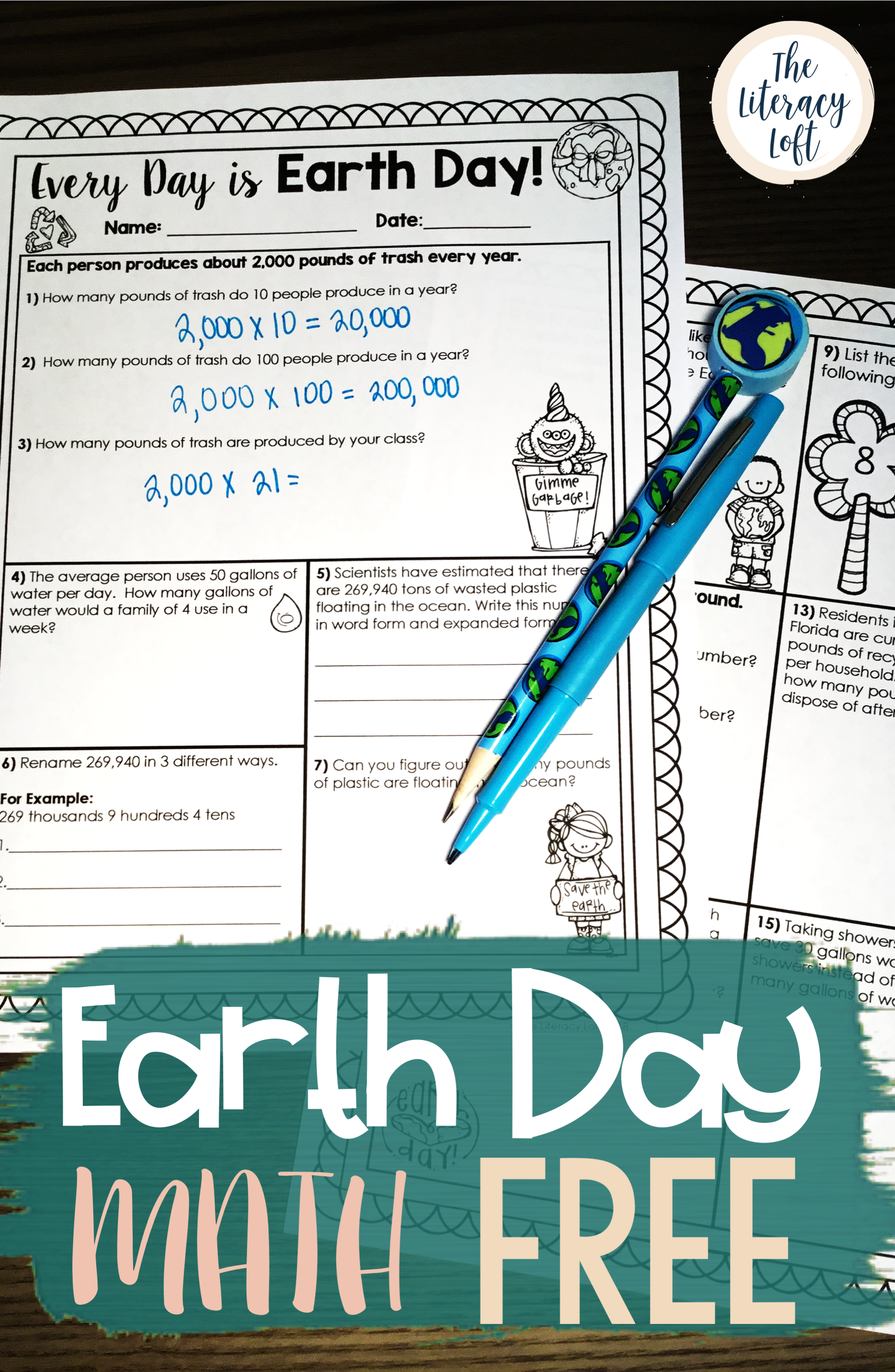 Earth Day Math {FREE} | TpT Math Lessons | Pinterest | Happy earth ...