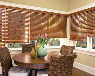 Hunter Douglas Casual Living Window Treatments Tropical Dining Room Other Metro Accent Window Fashions Wood Blinds Faux Wood Blinds Dining Room Windows