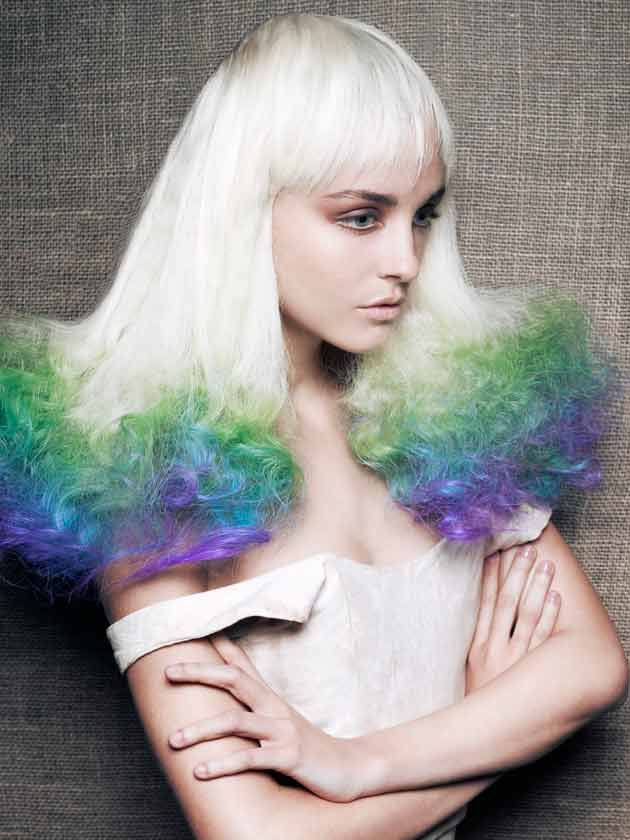 platinum blonde hair with bright