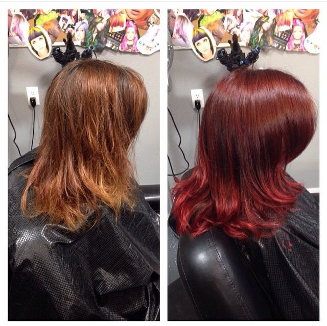 Beautiful Rick red ombré hair made possible with Wella koleston and magma!