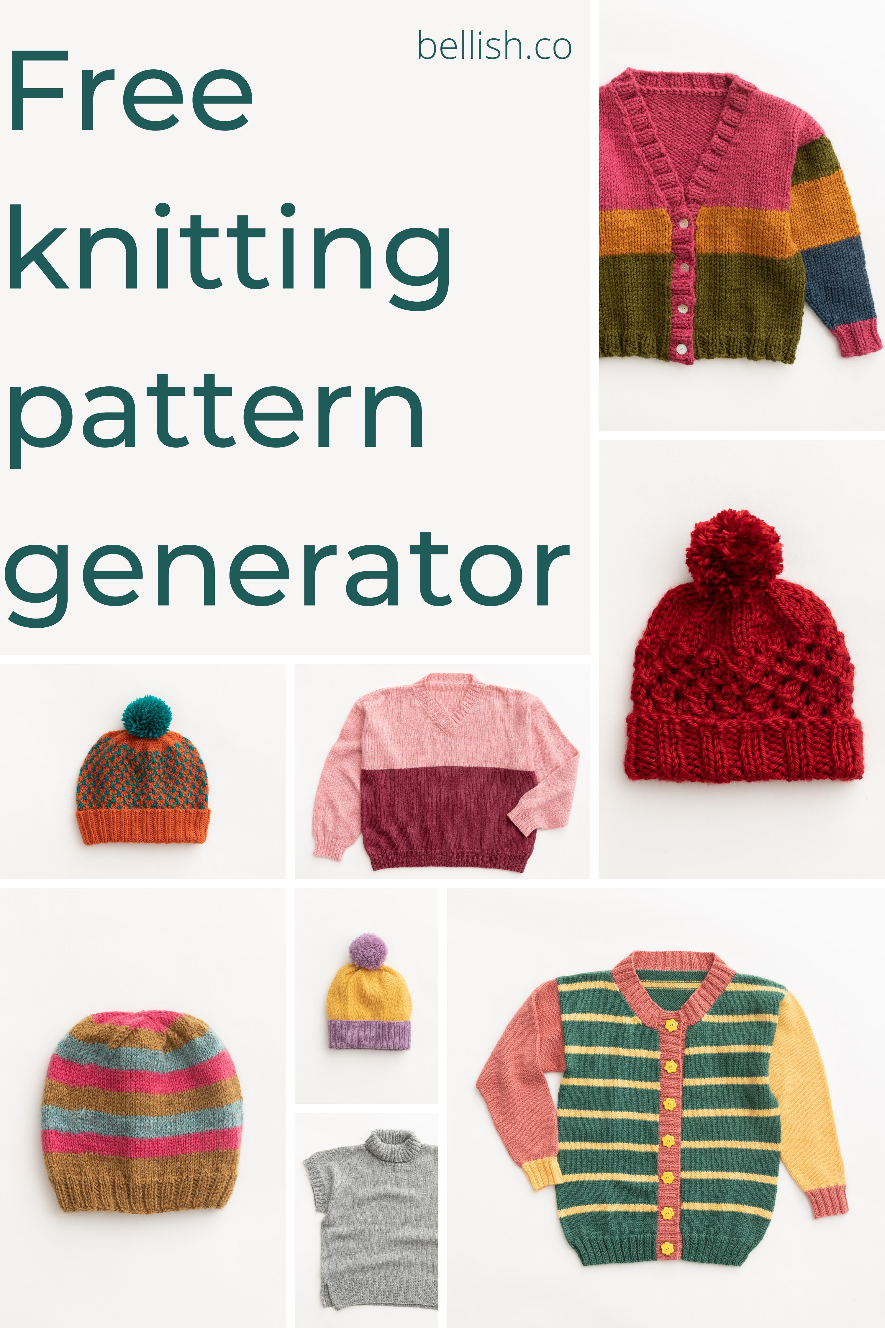 Free Knitting Pattern Generator In 2021 Beanie Knitting Patterns Free Free Knitting Arm Knitting Scarf
